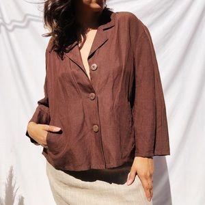 Brown vintage linen top